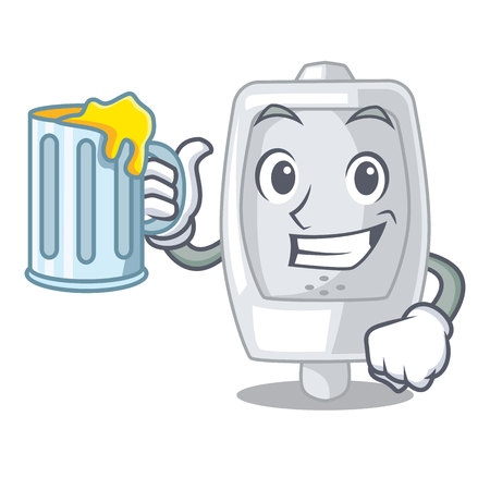 With juice urinal in the a cartoon bathroom vector illustration