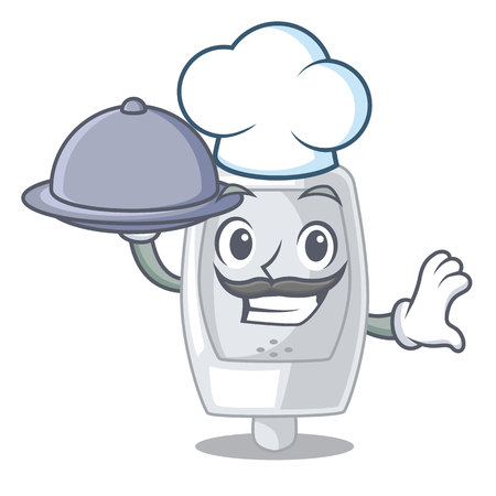 Chef with food urinal in the a cartoon bathroom vector illustration