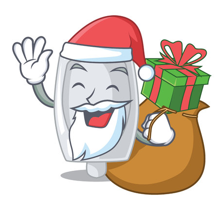 Santa with gift interior urinal in the a character vector illustration