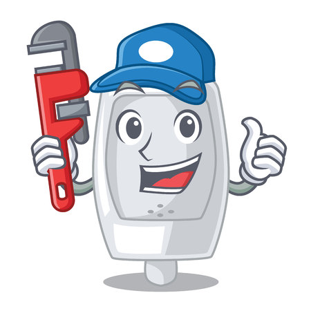 Plumber interior urinal in the a character vector illustration