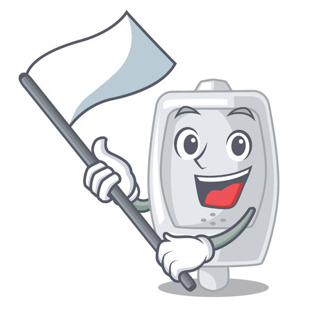 With flag interior urinal in the a character vector illustration Imagens - 124887099