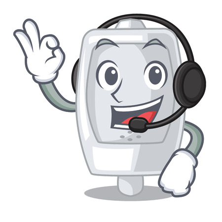 With headphone interior urinal in the a character vector illustration Ilustrace