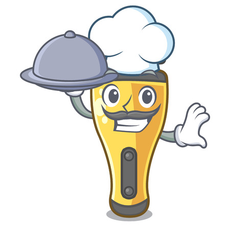 Chef with food electric shaver isolated with in mascot vector illustration