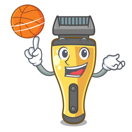 With basketball electric shaver in the a character vector illustration Illustration