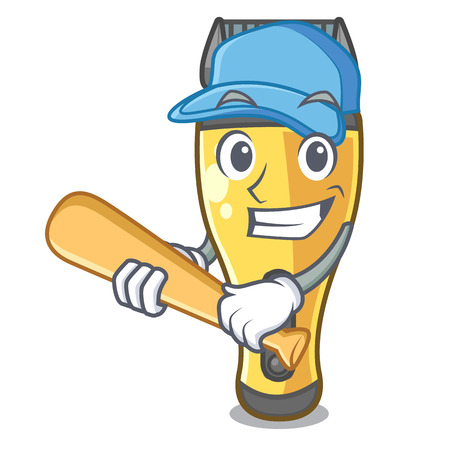 Playing baseball electric shaver in the a character vector illustration Illustration