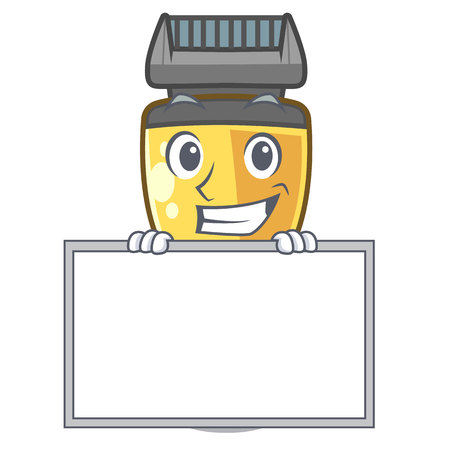 Grinning with board electric shaver in the a character vector illustration