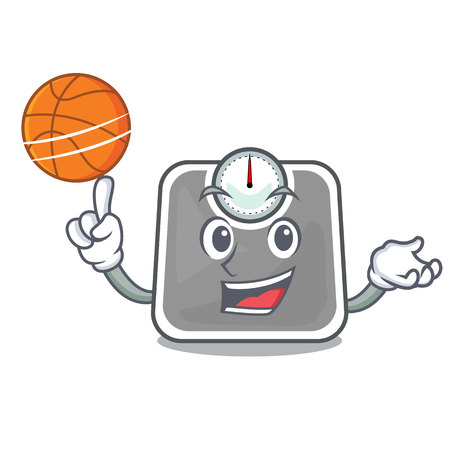 With basketball weight scales in the shape characters Ilustração