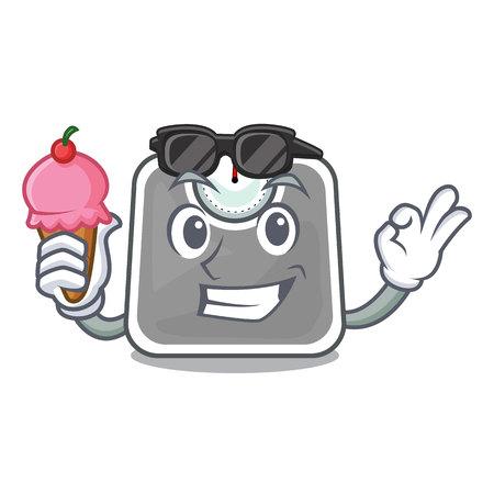 With ice cream weghit cartoon scale the health room vector illustration