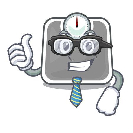 Businessman weghit cartoon scale the health room vector illustration