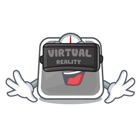 Virtual reality weight scala on the mascot table vector illustration