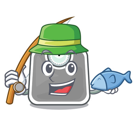 Fishing weight scala on the mascot table vector illustration