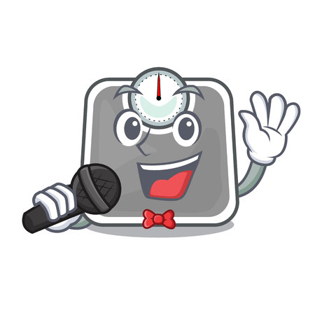 Singing weight scala on the mascot table vector illustration
