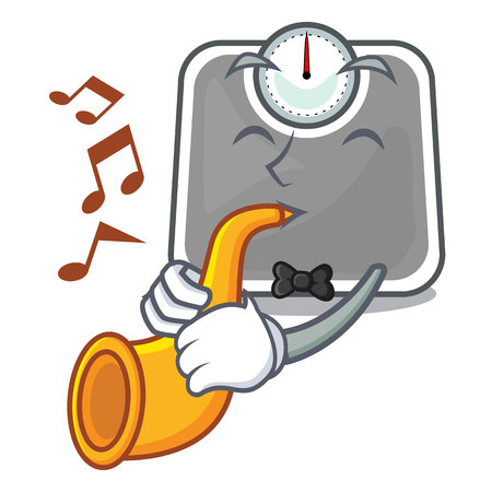 With trumpet weight scala on the mascot table vector illustration Illustration