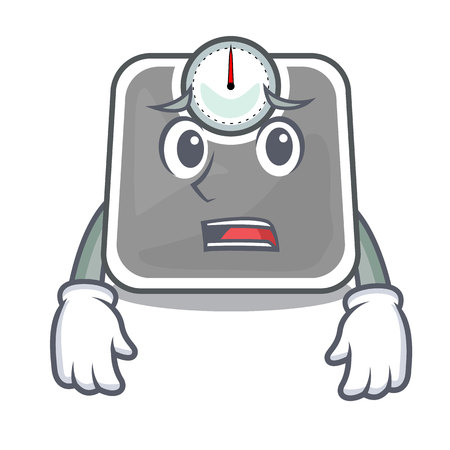 Afraid weight scala on the mascot table vector illustration Иллюстрация