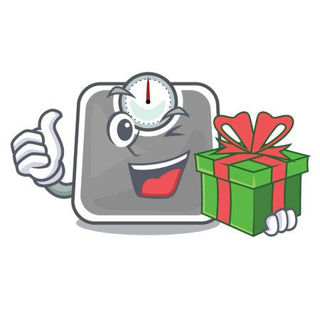With gift weight scala on the mascot table vector illustration Иллюстрация
