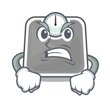 Angry weight scala on the mascot table vector illustration