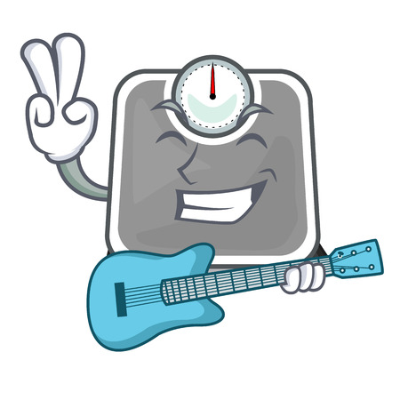 With guitar weight scala on the mascot table vector illustration Иллюстрация