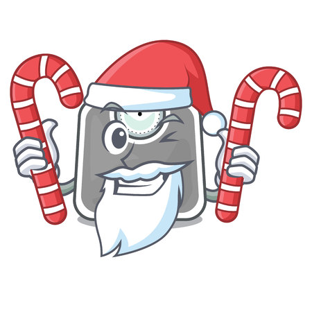 Santa with candy weight scala isolated with in cartoons vector illustration