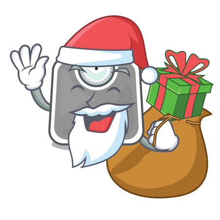 Santa with gift weight scala isolated with in cartoons vector illustration