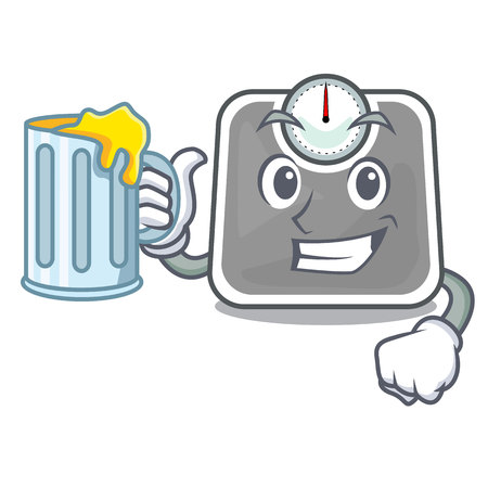 With juice weight scala on the mascot table vector illustration