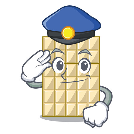 Police chocolate white in the shape character vector illustration