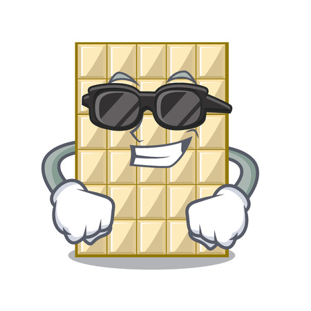 Super cool white chocolate on a cartoon plate vector illustration