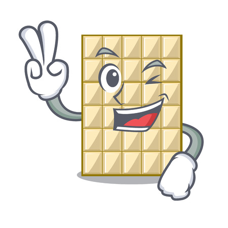 Two finger white chocolate on a cartoon plate vector illustration