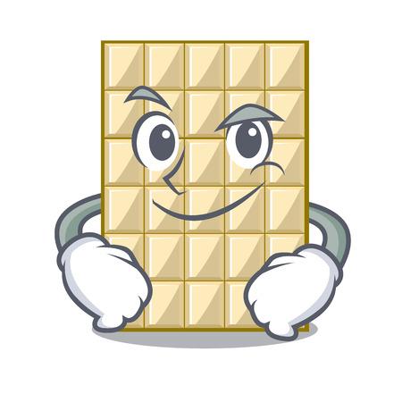 Smirking white chocolate on a cartoon plate vector illustration Vector Illustratie