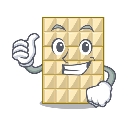 Thumbs up white chocolate on a cartoon plate vector illustration