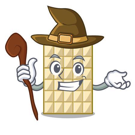 Bruja de chocolate blanco en la ilustración de vector de mesa de madera de mascota