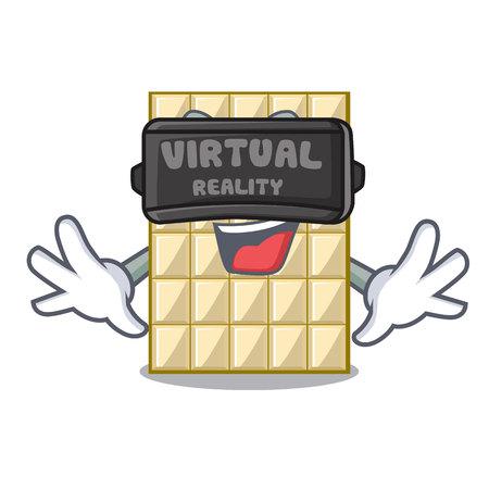 Virtual reality white chocolate on mascot wood table vector illustration Ilustração