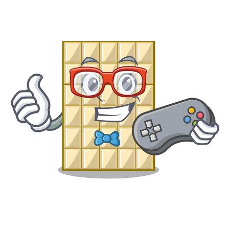 Chocolate blanco de jugador en la ilustración de vector de mesa de madera de mascota
