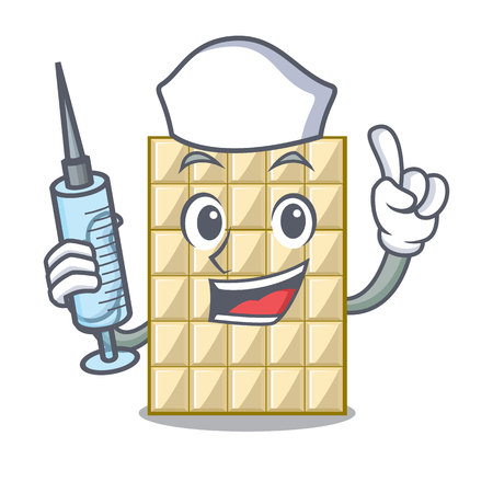 Nurse white chocolate on a cartoon plate vector illustration Stock Illustratie