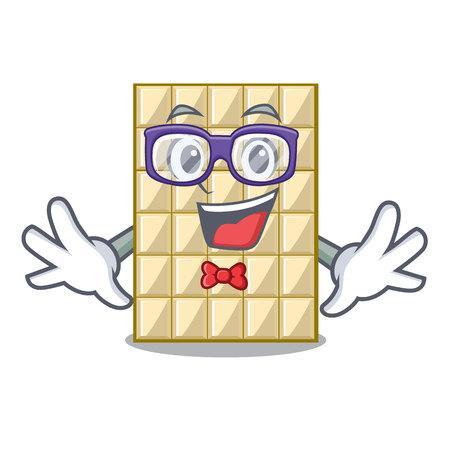 Geek white chocolate on a cartoon plate vector illustration