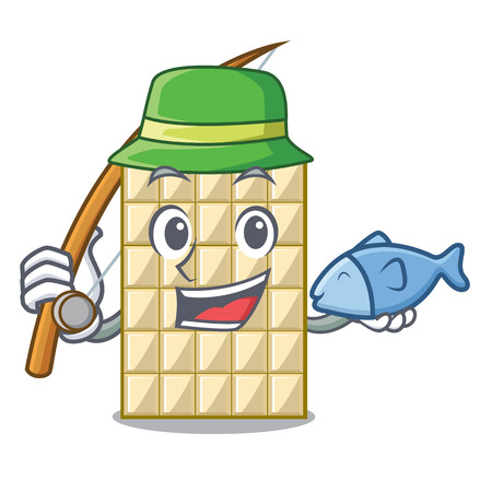 Fishing white chocolate on mascot wood table Stock Illustratie