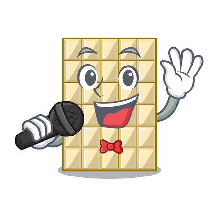 Singing white chocolate on mascot wood table vector illustration Ilustração