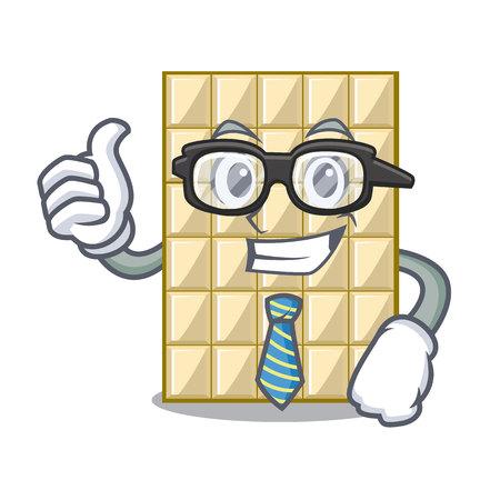 Businessman white chocolate on a cartoon plate vector illustration