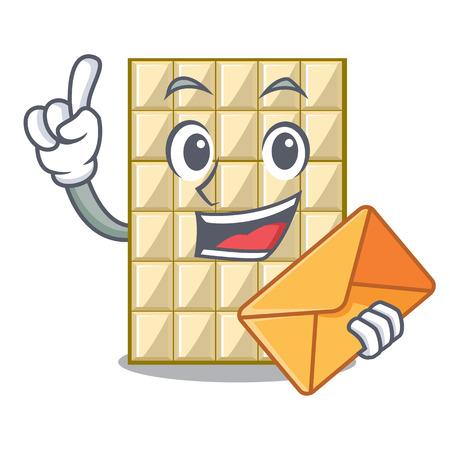 With envelope white chocolate on a cartoon plate vector illustration Ilustração