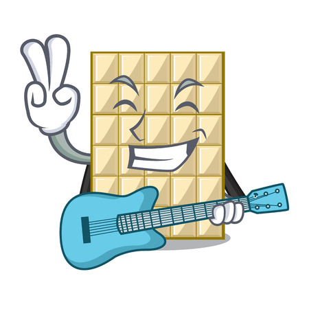 With guitar white chocolate on mascot wood table vector illustration