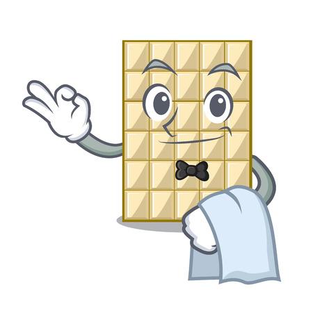 Waiter white chocolate on mascot wood table vector illustration Ilustração