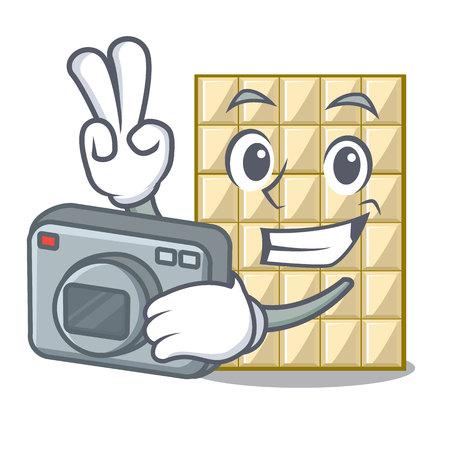 Photographer white chocolate on mascot wood table vector illustration Ilustração