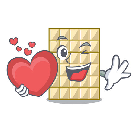 With heart white chocolate on mascot wood table vector illustration