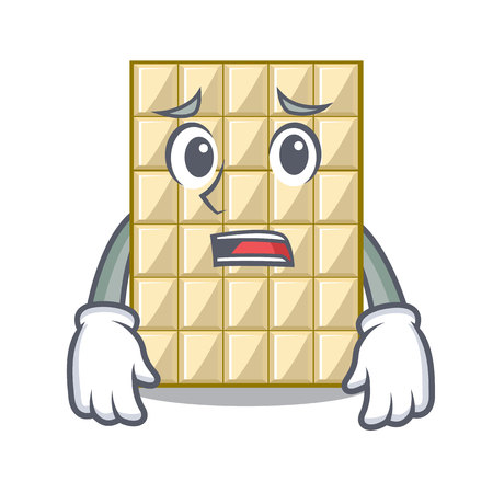Afraid white chocolate on mascot wood table