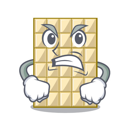 Angry white chocolate on mascot wood table vector illustration
