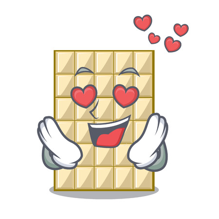 In love white chocolate on mascot wood table vector illustration