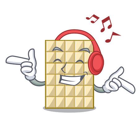 Listening music white chocolate on mascot wood table vector illustration Ilustração