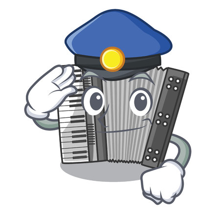 Police according cartoons in the music room vector illustration