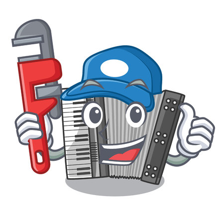 Plumber accordion isolated with in the character vector illustration Illustration