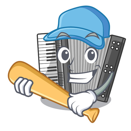 Playing baseball according cartoons in the music room vector illustration
