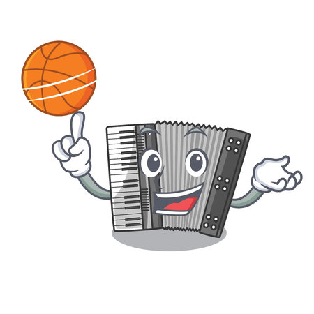 With basketball according cartoons in the music room vector illustration